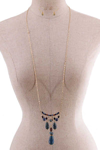 Fashion Multi Stone Drop Necklace