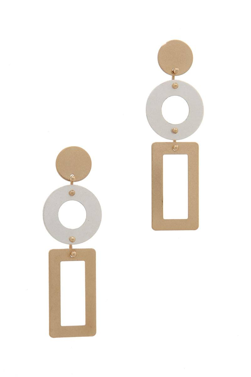 Cut Out Rectangular Shape Post Drop Earring