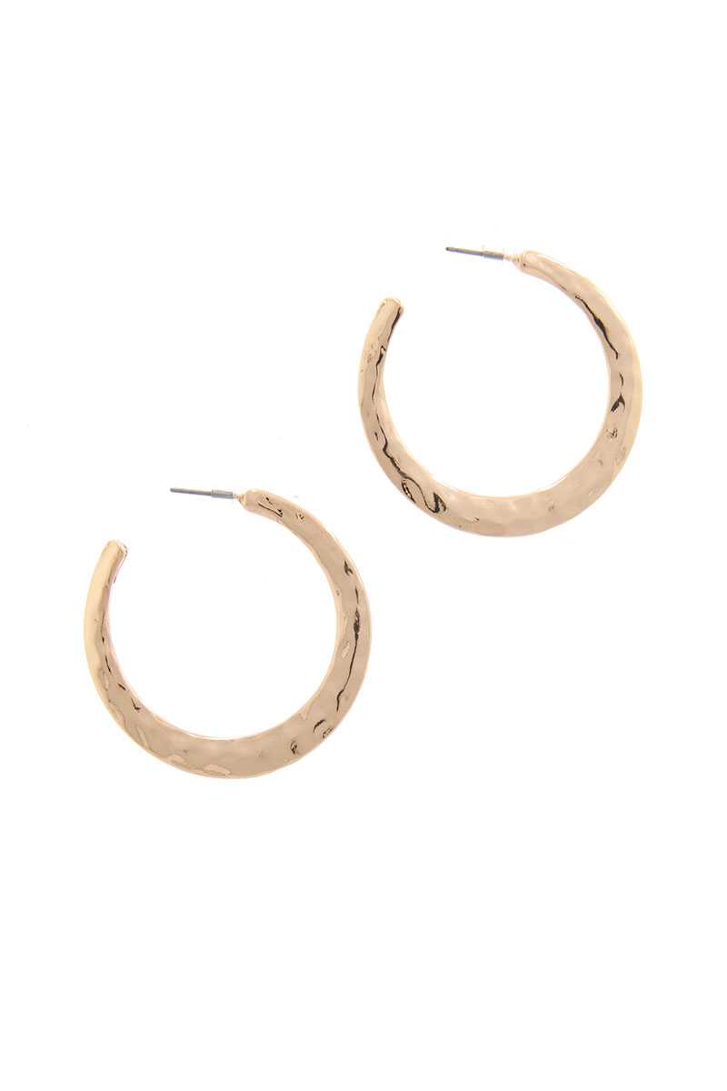 Hammered Open Circle Drop Earring