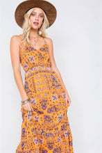 Load image into Gallery viewer, Mustard Boho Print V-neck Cami Straps Maxi Dress
