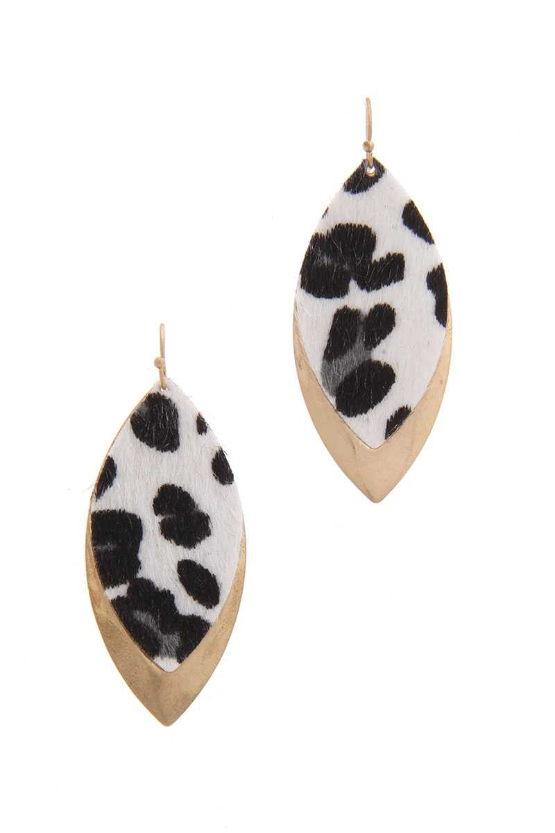 Animal Print Metal Pointed Oval Drop Earring