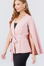 Load image into Gallery viewer, Open Peaked Front W/belt Detail Cape Jacket