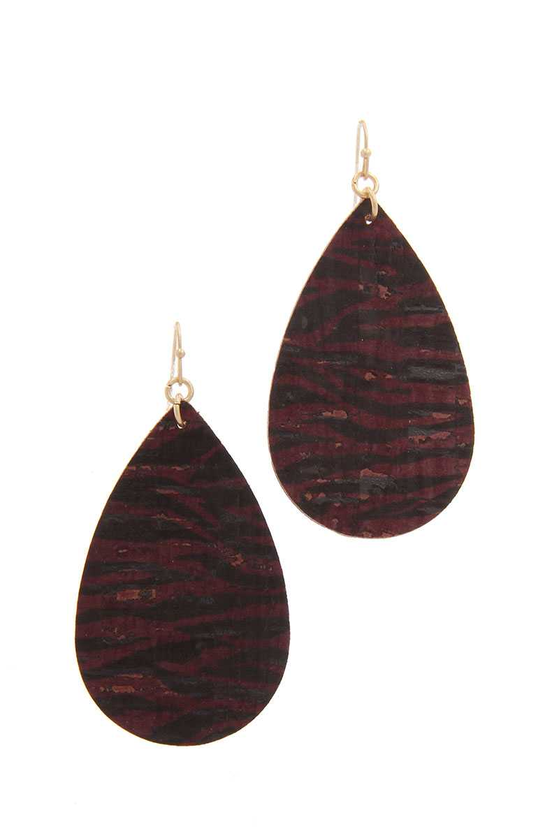 Animal Print Teardrop Shape Drop Earring