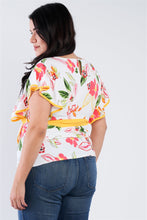Load image into Gallery viewer, Plus Size Tropical Floral Print Mock Sleeve Chiffon Semi-sheer Top