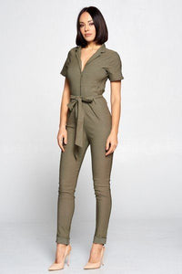 Short Sleeve Jumpsuit With A Notched Collar Neckline