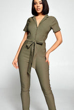 Load image into Gallery viewer, Short Sleeve Jumpsuit With A Notched Collar Neckline