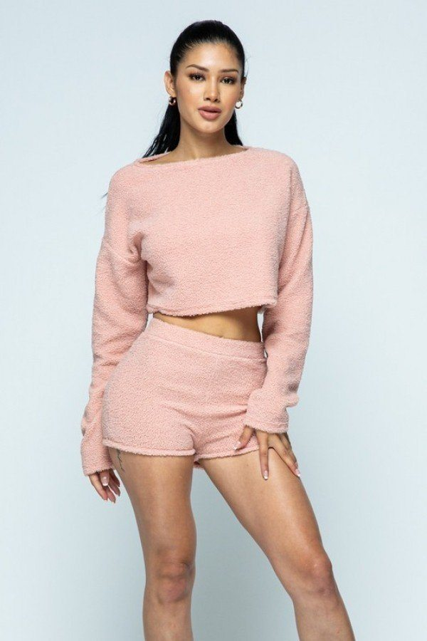 Poodle Knit Drop Shoulder Long Sleeve Cropped Top With High Waist Shorts Set