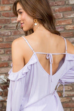 Load image into Gallery viewer, Cold Shoulder V Neck Adjustable Strap 3/4 Bubble Sleeve Top