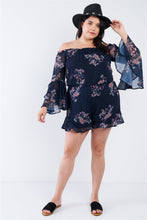Load image into Gallery viewer, Plus Size Navy Floral Off The Shoulder Bell Sleeve Romper