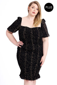 Crinkle Dot Print Dress