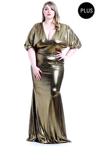 Metallic Ribbed Deep V-neckline Dress