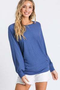 Dolman Long Sleeve Ribbed Top With Banded Hem