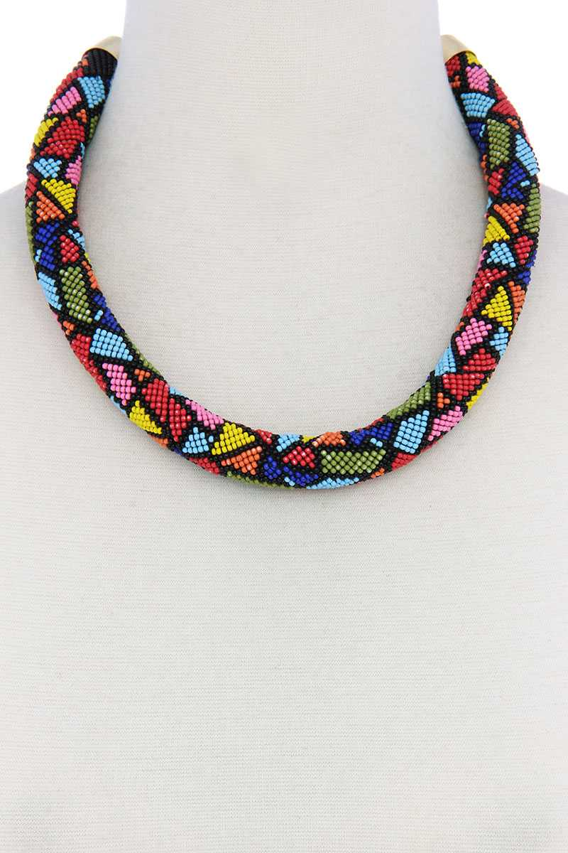 Abstract Pattern Seed Bead Necklace