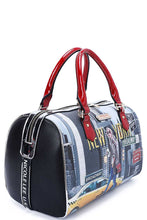 Load image into Gallery viewer, Nicole Lee New York Walk Print Boston Bag With Long Strap