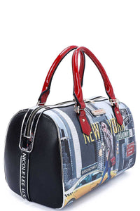 Nicole Lee New York Walk Print Boston Bag With Long Strap