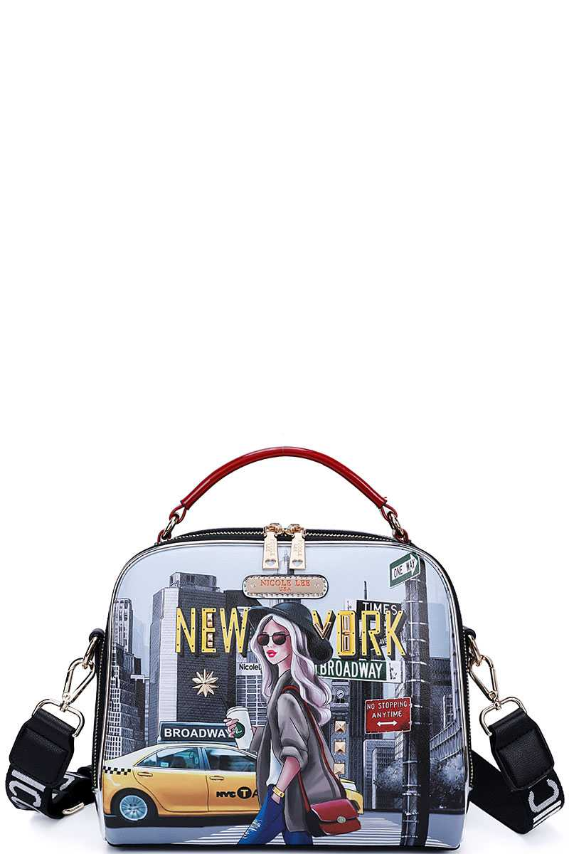 Nicole Lee New York Walk Print Crossbody Shoulder Bag