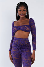 Load image into Gallery viewer, Sheer Floral Lace Crop Square Neck Top & High Waist Flare Pant Set
