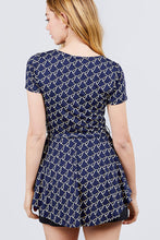 Load image into Gallery viewer, Short Sleeve Round Neck W/belt Peplum Print Dty Top