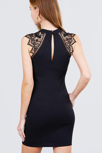 Sleeveless W/shoulder Lace Patch Open Back Button Closure Stretch Knit Mini Dress