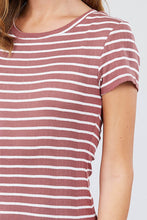 Load image into Gallery viewer, Short Sleeve Crew Neck Stripe Pointelle Knit Top