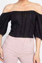 Load image into Gallery viewer, Lace Trim Off Shoulder Crop Top