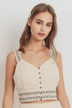 Load image into Gallery viewer, Knit Laced Buttoned Shoulder Strap Top
