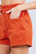 Load image into Gallery viewer, Side Pocket Rolled Up Paper Bag Cotton Short Pants
