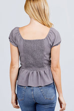 Load image into Gallery viewer, Short Sleeve Heart Neck W/button Back Smocking Detail Flare Hem Woven Top