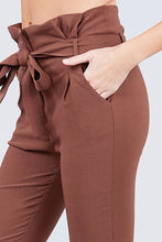 Load image into Gallery viewer, High Waisted Belted Pegged Stretch Pant