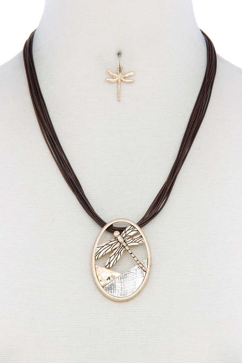 Dragonfly Oval Pendant Pu Leather Necklace
