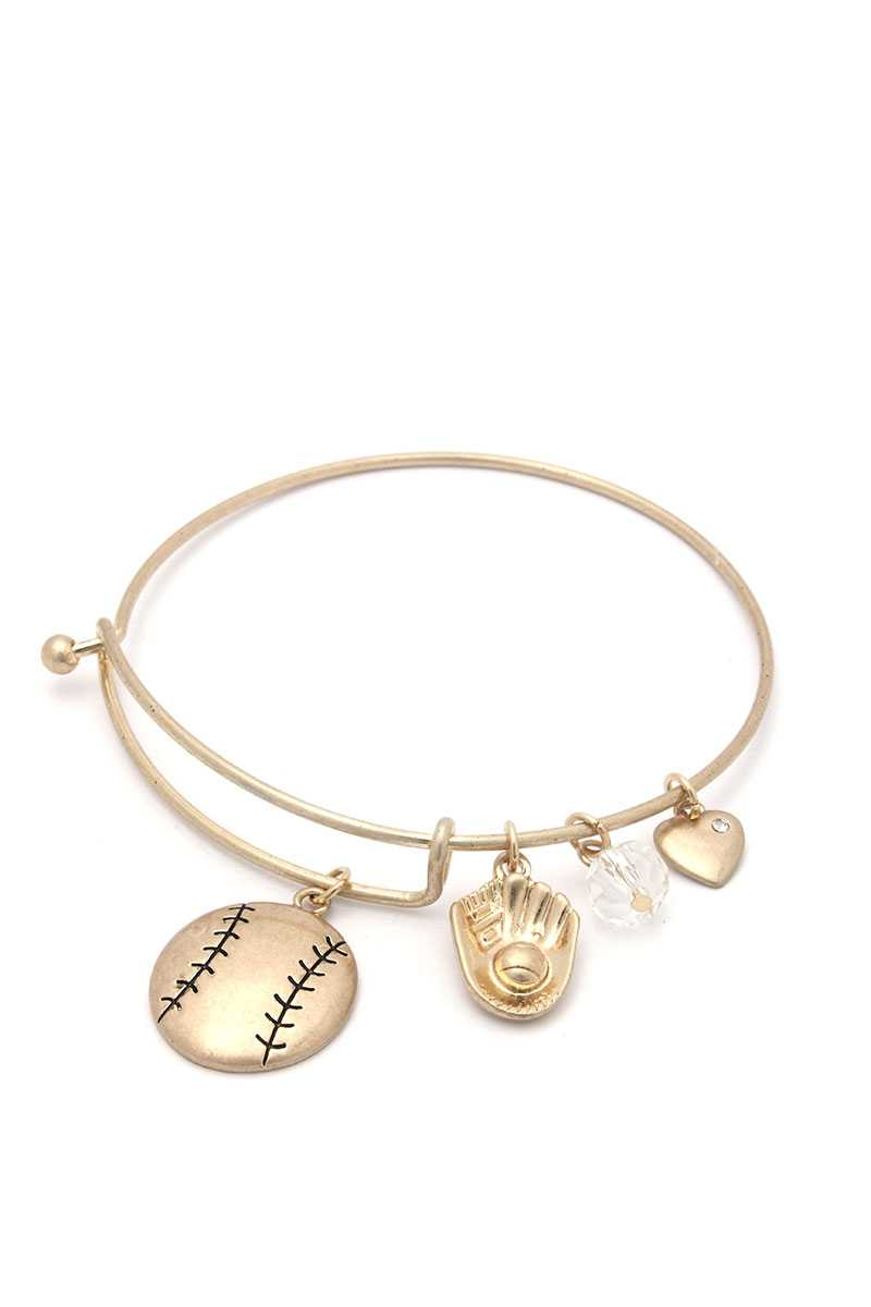 Baseball Charms Inspirational Bangle Bracelet
