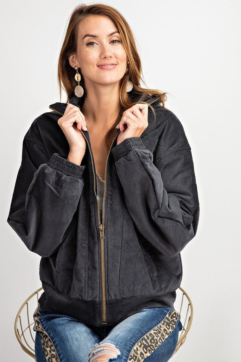Retro Look Quilted Soft Corduroy Bomber Jacket