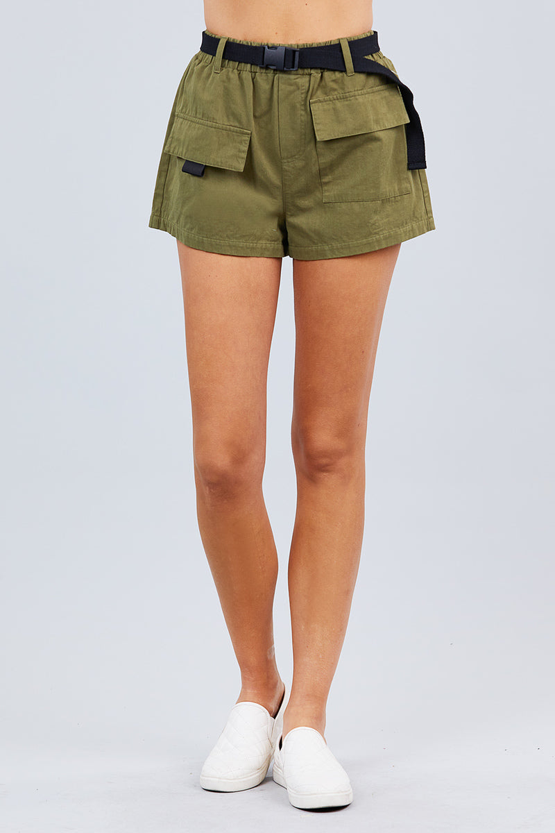 Twill Belted Side Pocket Cargo Cotton Short Pants