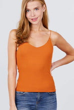 Load image into Gallery viewer, Double V-neck 2 Ply Rib Knit Cami Top