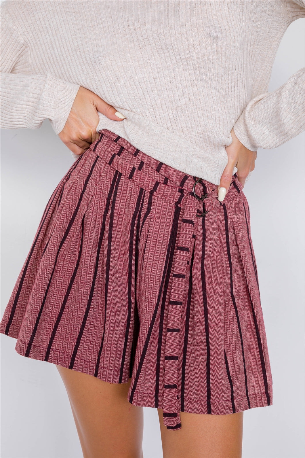 Mauve Plum Purple Stripes Vintage High-waist Adjustable Waist Tie Shorts