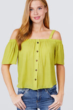 Load image into Gallery viewer, Elbow Sleeve Open Shoulder Button Down Woven Top