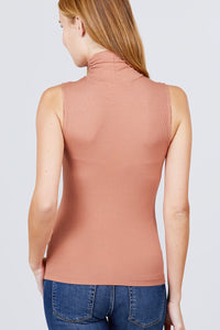 Sleeveless Shirring Turtle Neck Rib Knit Top