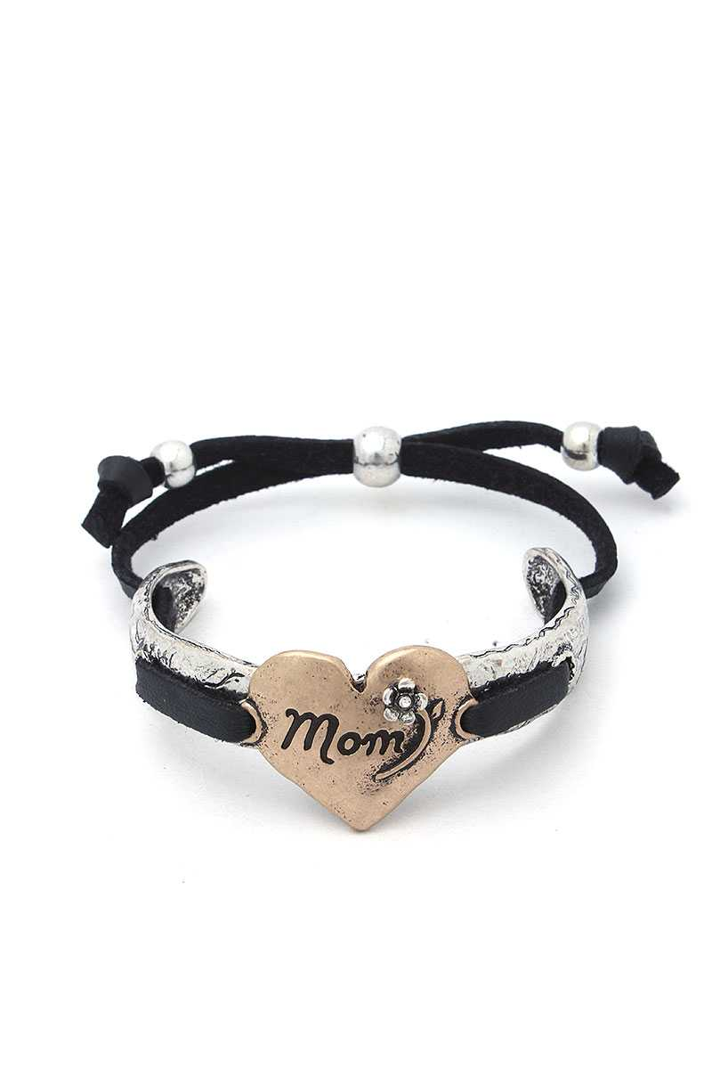 Mom Heart Metal Bracelet