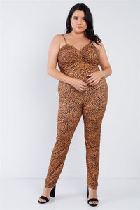 Plus Size Cheetah Print Catsuit Jumpsuit