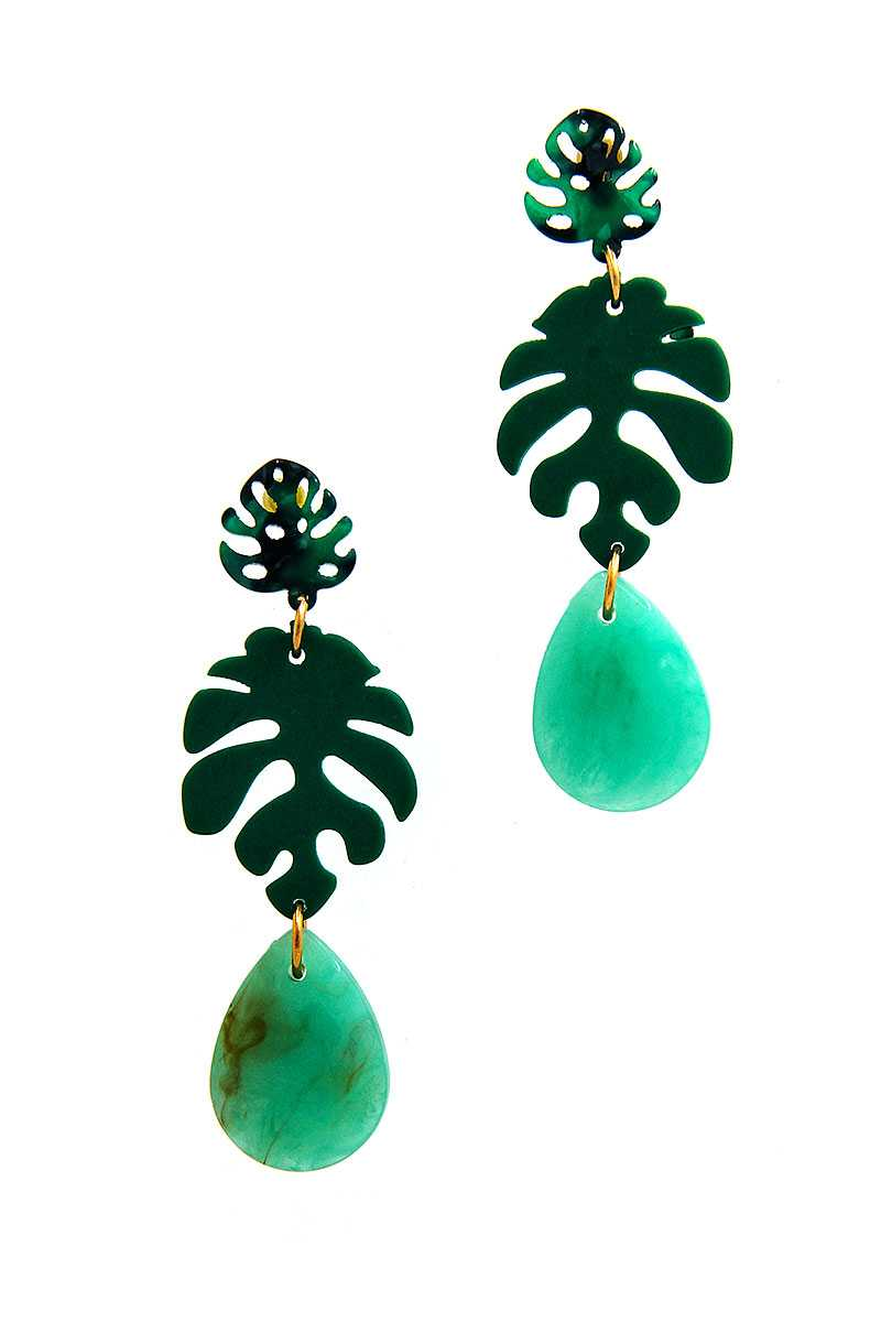 Fashion Acetate Leaf Drop Earring