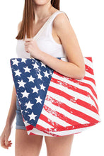 Load image into Gallery viewer, Fashion American Flag Print Canvas Shopper Bag
