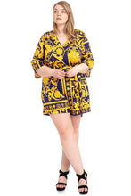Load image into Gallery viewer, Plus Size Baroque Print V-neck Romper-