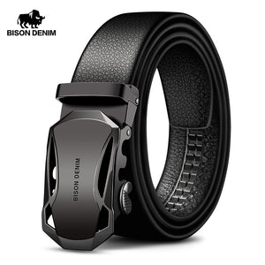 BISON DENIM Men's Automatic Buckle Leather Belts