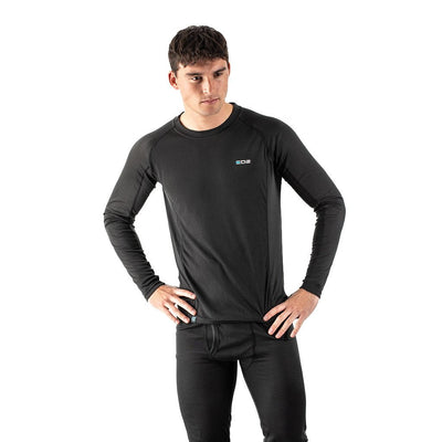 EDZ All Climate Wicking Base Layer Long Sleeve Crew Black