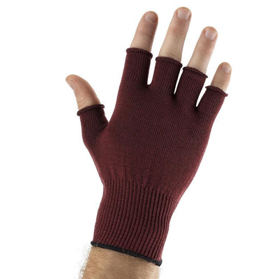 EDZ Silk Fingerless Thermal Gloves Burgundy