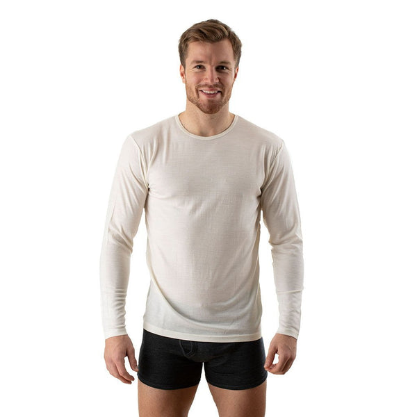 EDZ Merino Wool Thermal Underwear Long Sleeve Top Men's Natural White