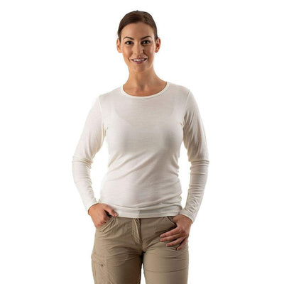 EDZ Womens Merino Wool Thermal Underwear Long Sleeve Top White (2 pack)