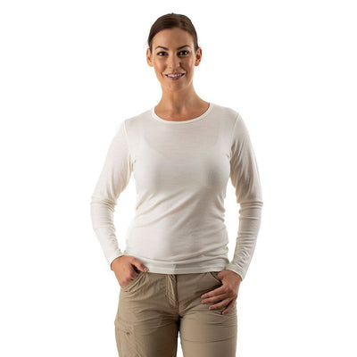 EDZ Womens Merino Wool Thermal Underwear Long Sleeve Top White