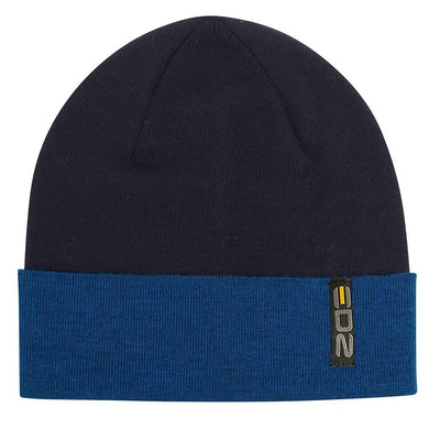 EDZ Two Tone Merino Wool Beanie Hat Navy Blue