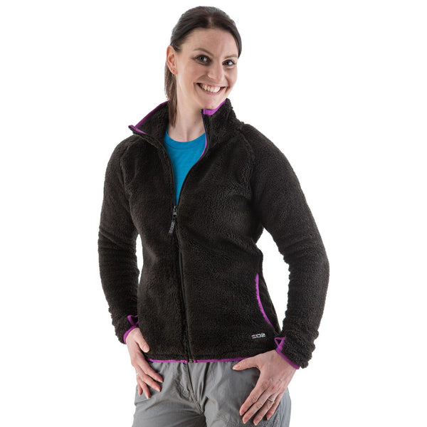 EDZ Yeti Jacket Fleece Jacket Black with Purple Trim
